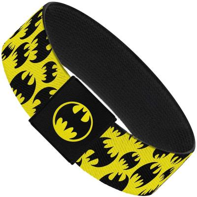 "Elastic Bracelet - 1.0"" - Multi Bat Signals Scattered Yellow/Black"