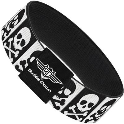 Buckle-Down Elastic Bracelet - Skull & Cross Bones Blocks Black/White White/Black