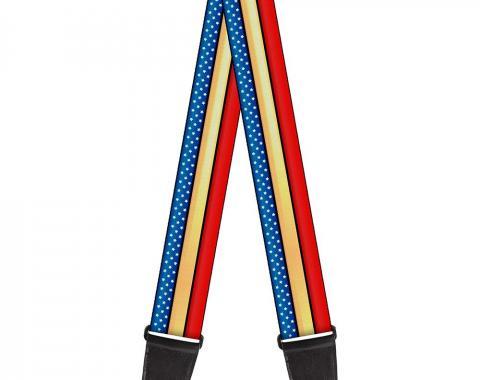 Guitar Strap - Wonder Woman Stripe/Stars Red/Gold/Blue/White