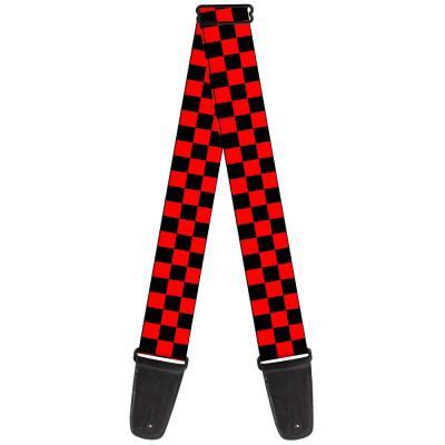 Guitar Strap - Checker Black/Red