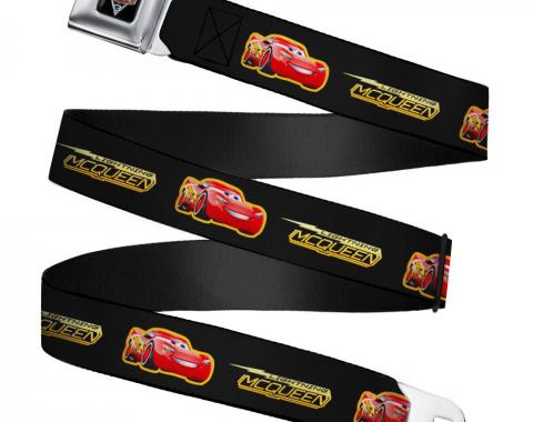 CARS 3 Emblem Full Color Black/Silver/Red Seatbelt Belt - Cars 3 LIGHTNING MCQUEEN Pose/Bolt Black/Yellows Webbing