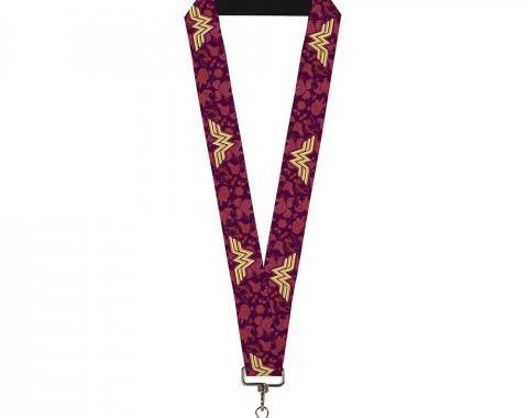 """Lanyard - 1.0"""" - Wonder Woman Logo/Floral Collage Purple/Pinks/Gold"""