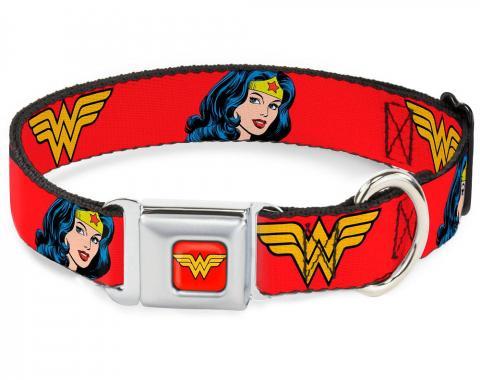 Dog Collar WWA-Wonder Woman Red - Wonder Woman Logo/Face Repeat Red