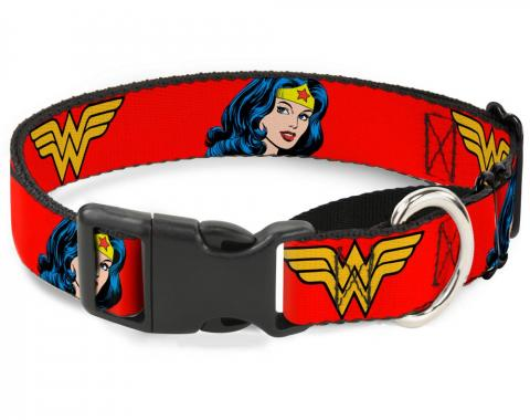 Plastic Martingale Collar - Wonder Woman Logo/Face Repeat Red