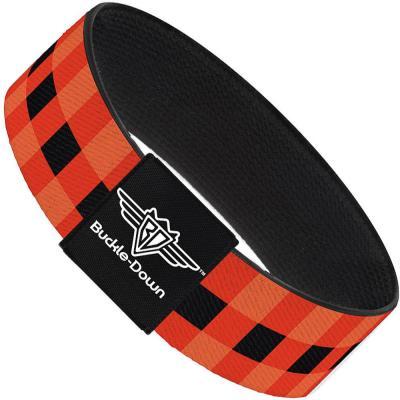 Buckle-Down Elastic Bracelet - Buffalo Plaid Black/Orange
