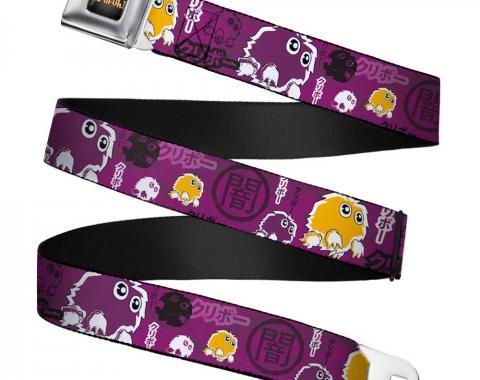 YU-GI-OH! Logo Full Color Black-Fade/Gold Seatbelt Belt - KURIBOH/DARK Kanji Collage Purples/White/Black/Orange Webbing