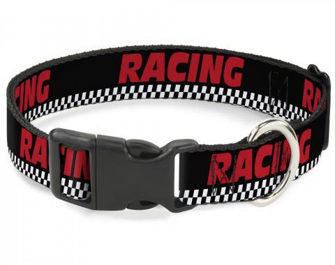 Buckle-Down Plastic Buckle Dog Collar - RACING/Checker Black/White/Red
