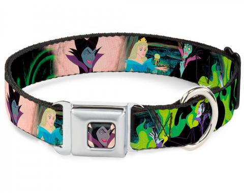 Dog Collar DYCI-Maleficent Face2 Full Color Light Pink Glow - Princess Aurora & Maleficent Scenes