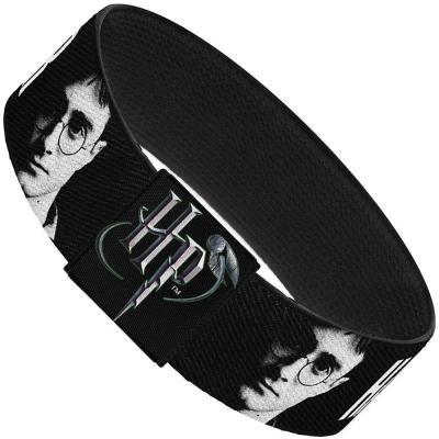 """Elastic Bracelet - 1.0"""" - HARRY POTTER Face Black/Grays/White"""