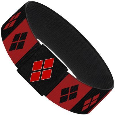 """Elastic Bracelet - 1.0"""" - Harley Quinn Diamond Blocks Red/Black Black/Red"""