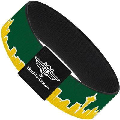 Buckle-Down Elastic Bracelet - Seattle Skyline Green/Yellow