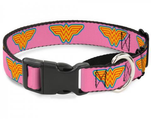 Plastic Martingale Collar - Wonder Woman Logo Pink/Blue/Yellow/Pink