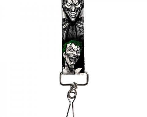 "Key Fob - 1.0"" - Joker Laughing Poses Black/White/Green"