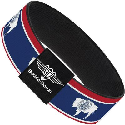 Buckle-Down Elastic Bracelet - Wyoming Flags Blison Silhouette