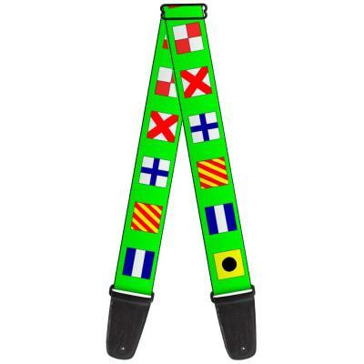 Guitar Strap - Nautical Flags Green/Multi Color