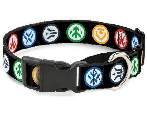 Plastic Martingale Collar - Voltron Pilot Icons Black/Multi Color/White