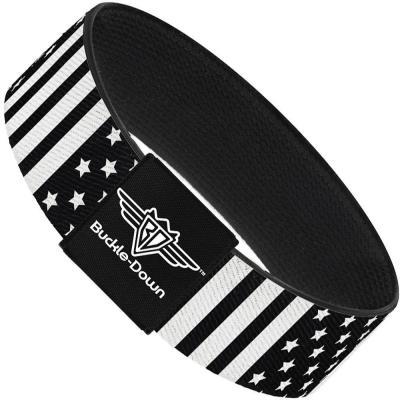 Buckle-Down Elastic Bracelet - American Flag C/U Black/White