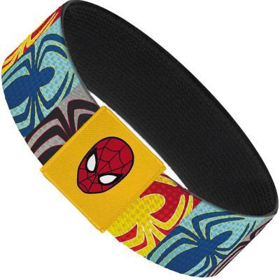"2017 MARVEL SPIDERMAN  Elastic Bracelet - 1.0"" - Spider-Man Spider Logo Blocks Halftone Multi Color"
