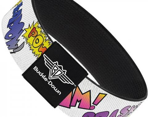 Buckle-Down Elastic Bracelet - Pinstripes Black/Multi Color