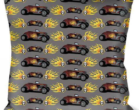 Buckle-Down Throw Pillow - Hot Rod w/Flame Skull