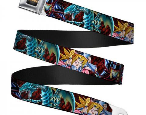 YU-GI-OH! Logo Full Color Black-Fade/Gold Seatbelt Belt - Dark Magician/Blue-Eyes White Dragon/Dark Magician Girl/Diamonds Black/Red Webbing