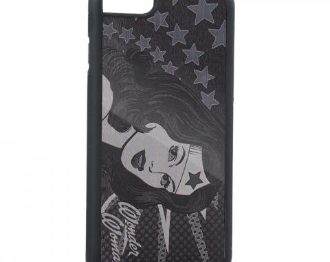 Rubber Cell Phone Case - BLACK - Wonder Woman Face w/Stars Brushed Silver