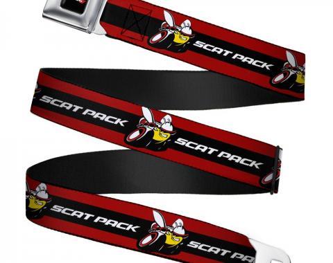 Dodge Red Rhombus Full Color Seatbelt Belt - Dodge SCAT PACK Badge Logo Stripe Red/Black/White Webbing