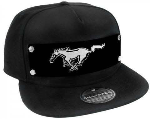 Embellishment Trucker Hat BLACK - Full Color Strap - Mustang Pony Logo Black/White/Black