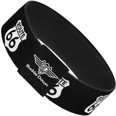 Buckle-Down Elastic Bracelet - ROUTE 66 Highway Sign Repeat Black/White