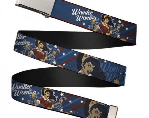 Chrome Buckle Web Belt - WONDER WOMAN/Bombshell Pose Blue/Red/White Webbing