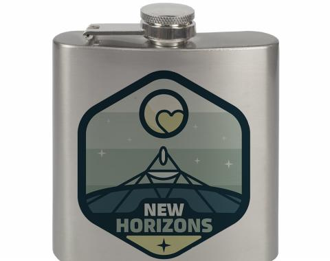 Stainless Steel Flask - 6 OZ - NEW HORIZONS Pluto Blues/White