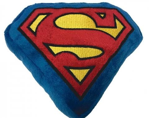 DTPT-SMBB  Dog Toy Squeaky Plush - Superman Shield Blue/Red/Yellow