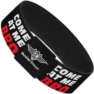 Buckle-Down Elastic Bracelet - COME-AT ME-BRO Black/White/Red