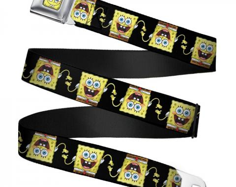 Sponge Bob Face CLOSE-UP Seatbelt Belt - Sponge Bob 3-D Pose Flip Black Webbing