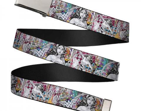Chrome Buckle Web Belt - Wonder Woman Sketch Scene Webbing