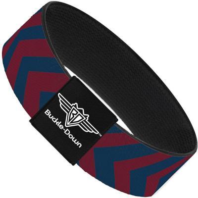 Buckle-Down Elastic Bracelet - Chevron2 Red/Navy