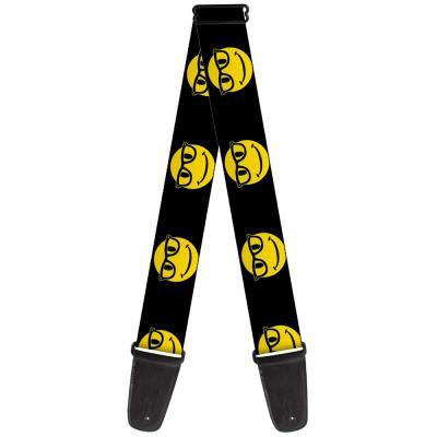 Guitar Strap - Nerd Happy Face Black/Yellow/Black