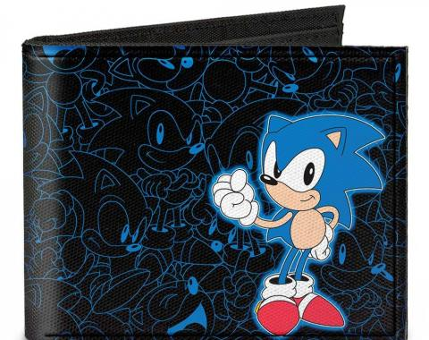 SONIC CLASSIC  Canvas Bi-Fold Wallet - Sonic Pose/Outlines + SONIC THE HEDGEHOG Black/Blue