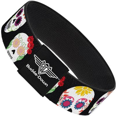 Buckle-Down Elastic Bracelet - Staggered Sugar Skulls Black/Multi Color