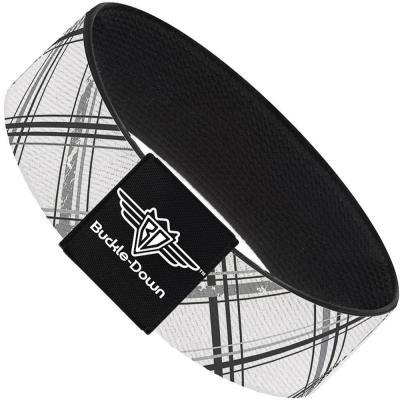Buckle-Down Elastic Bracelet - Plaid X Weathered White/Gray