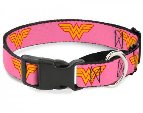 Plastic Martingale Collar - Wonder Woman Logo Pink