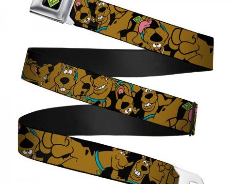 SD Dog Tag Full Color Black/Yellow/Blue Seatbelt Belt - Scooby Doo Stacked CLOSE-UP Webbing