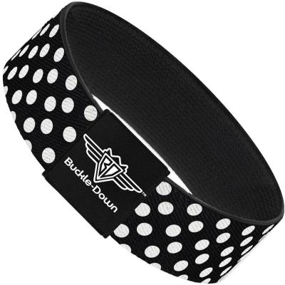 Buckle-Down Elastic Bracelet - Micro Polka Dots2 Black/White