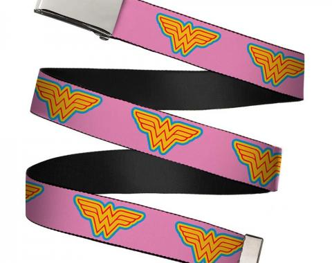 Chrome Buckle Web Belt - Wonder Woman Logo Pink/Blue/Yellow/Pink Webbing