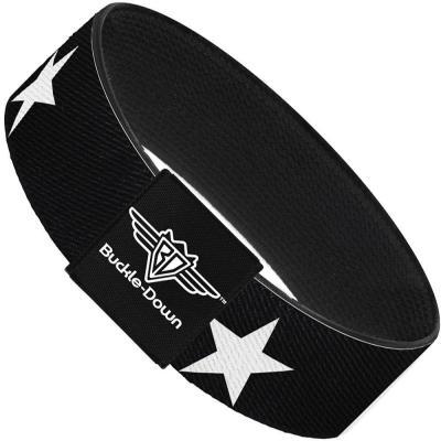 Buckle-Down Elastic Bracelet - Star Black/White