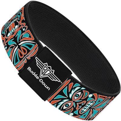 Buckle-Down Elastic Bracelet - Totem Carvings Black/White/Orange/Turquoise