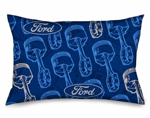 Pillowcase - STANDARD - FORD Oval/Pistons Repeat Repeat Blues/Gray