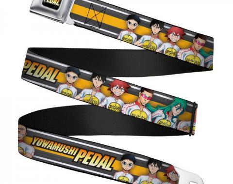 CRUNCHYROLL YOWAMUSHI PEDAL Logo Full Color Black/White/Orange-Yellow Fade Seatbelt Belt - YOWAMUSHI PEDAL 6-Character Pose Stripe Grays/White/Orange Webbing