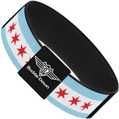 Buckle-Down Elastic Bracelet - Chicago Flags/Black