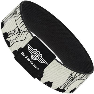 Buckle-Down Elastic Bracelet - Zebra Poops Off-White/Black